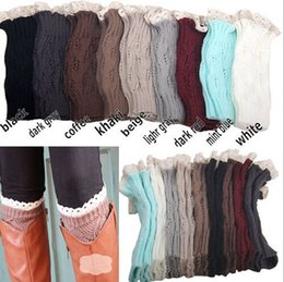 Wholesale Womens Lace Boot Socks - 10 pairs lot Fashion Women Boot Cuffs Crochet Leg Warmers Lace Boot Socks Womens Boot Socks Free Shipping