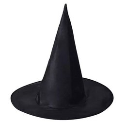 Wholesale halloween black witch hat - In Stock Black Oxford Burst Seal Hood Harry Potter Magic Hat Halloween Witch Hat All Black Wizards Hats 23g
