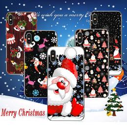 Feliz natal iphone on-line-Merry natal caso papai noel alces desenho colorido impressão pintura suave tpu gel transparente tampa traseira transparente para iphone x 8 7 plus 6 6 s
