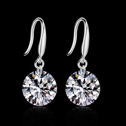 Wholesale Design 925 - 2015 new design 925 sterling swiss CZ diamond drop earrings fashion jewelry beautiful wedding   engagement gift free shipping