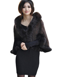 Wholesale Genuine Fox Fur Coat Jacket - Wholesale-New fashion High Quality Genuine Knitted Mink Fur Shawl Wrap Cape With Fox Fur Collar Mink Fur Coat Jacket BF-P0001