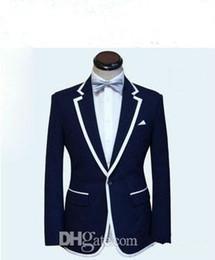 Quadrato a tasca personalizzato online-Abito uomo su misura, uomo bianco blu smoking uomo smoking (giacca + pantaloni + cravatta + tasca)