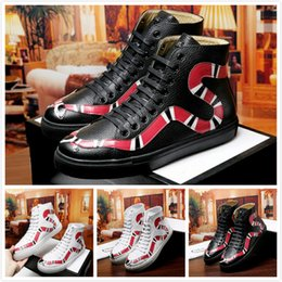 Wholesale Mens High Heel Motorcycle Boots - 2018 Top Quality printing Snake Genuine Leather Mens Boots Fashion Brand Designer White Black High Cut Couple Flat Casual Shoes Sneakers Run