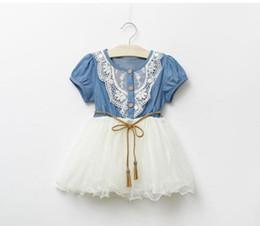 Wholesale Floral Gauze Dress - Wholesale -- 2017 Summer Kids Baby Girls Dresses Short Sleeve Denim Floral Waistband Lace Gauze Bow Dresses