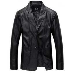 Wholesale mens synthetic leather jacket - Wholesale- Plus Size Mens Formal Suit Leather Blazer Jacket Black Khaki Brown Men Slim Fit Lether Jackets Coats M-4XL 5XL 6XL