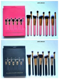 Wholesale Bb Sets - HOT Makeup Brush Cosmetic Foundation BB Cream Powder Blush 10 pieces Makeup Tools Black   Pink Free shipping+GIFT