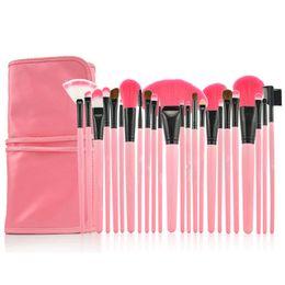 24Pcs Pennelli Trucco Professionale Make up Set Pennello Cosmetico Kit Tool + Roll Up Case spedizione gratuita A-0315 da