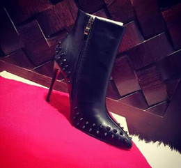 Wholesale Womens Spiked Heels - Hot 2018 Paris Womens Design Spike Studded High Heel Red Bottom Boots Pointy Genuine Leather Ankle Boots Luxury Winter Shoes 35-41