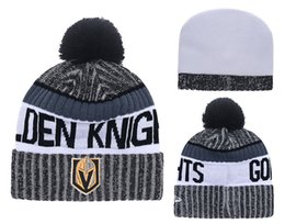 Wholesale Hockey Team Hats - 2017 New Arrival Vegas Golden Knights Knitted Embroidered Team Logo Beanies Quality Winter Warm Skull Caps Ice Hockey Pom Cuff Hats
