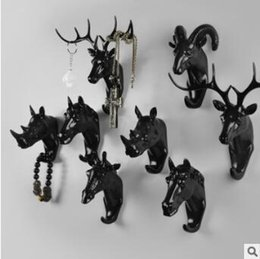 Wholesale Resin Animal Heads Wholesale - Pure Color Black White Gold Animal Head Hook Resin Craft Key Cap Cothes Claw 3D Animal Mural Decorative Hook Ornament Hanger CCA7935 50pcs