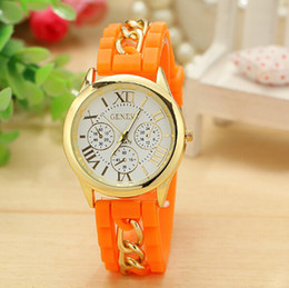 Wholesale Geneva Chain Watches - Hot sale Mens sports watches unisex Geneva Chain Silicone Watch Jelly Casual Dress WristWatch Luxury women watches