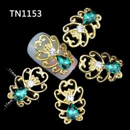 Wholesale Emerald Nail Art - Wholesale- 10pcs new design 3d nail alloy decoration glitter rhinestone nail art stud artificial emerald manicure nail accessories TN1153