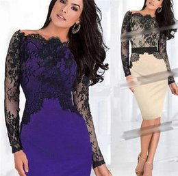 Wholesale Lace Long Sleeve Clubwear Dress - Super Warm Sexy Womens off shoulder cocktail Cotton Lace Crochet long sleeve Ladies Party Clubwear Bodycon Pencil Dress #4100sy