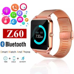 Wholesale German Stainless Steel - Z60 Bluetooth Smart Watch Phone Smartwatch with Stainless Steel Support SIM TF Card U8 GT08 GT09 DZ09 Smartwatch for IOS Android