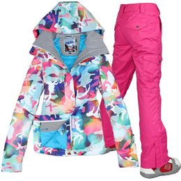 Wholesale Pink Ski Pants - Wholesale-free shipping new Combination ski suit gsou snow womens camouflage ski jacket and pants set Colorful snow clothes for women