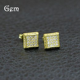 Wholesale Mens Ear Studs - 18K Gold Plated Hiphop Earrings For Mens Full Diamond Hip Hop Ear Studs Cool Hip-hop Pierced Earring Jewelry