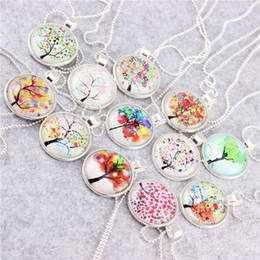 Wholesale Day White 38 - 38 styles Tree of Life Necklace Pendant Charm & Chain Gifts for Her Mum Girls Photo Glass Cabochon Dome Necklace Pendant