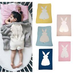 Кролик детское одеяло онлайн-2018 Новый Младенческой Детские Вязание Шерсть Кролик Кролик Одеяло Крючком Диван Пляж Одеяло Ковер 6 Цвет