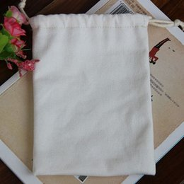 "Wholesale Baby Party Bags - Canvas Drawstring Pouches 8cmx10cm (3""x 4"") 100% Natural Cotton Black white Jewelry Gift Bag Baby Showr Wedding Party Favor holder"