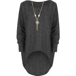 Wholesale Women Stretch Batwing Blouse - Spring 2016 New Arrival Fashion Women Blouses Loose Stretch Dip Hem Batwing Long Sleeve Tops Shirt Blouse Plus Size Blusas