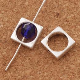 Wholesale Antiques Frames - Open Square Round Bead Frame Charm Beads 200pcs lot 11.2x11mm Antique Silver Pendants Jewelry DIY L761