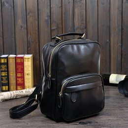 Wholesale Retro Laptop - Wholesale-High Quality Genuine Leather Backpack Vintage Back pack Male College Male Laptop Backpacks Retro Mens Shoulder Bags 2015 New