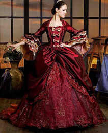 Wholesale Custom Renaissance Dresses - New 2015 Classic Half Sleeve Wine Red Pleat Lace Appliques Floor Length Renaissance Victorian Period Costume Gothic Ball Gown Prom Dresses