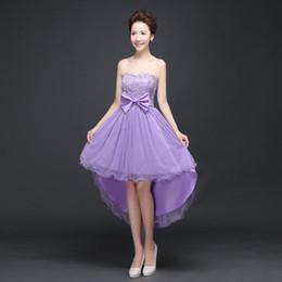 vestidos de fiesta suaves lavanda Rebajas Vestidos de baile Hi-lo rojo blanco Champagne vestido de rendimiento de encaje violeta con lazo Ocasiones especiales Sweet Memory Promotion SW0001