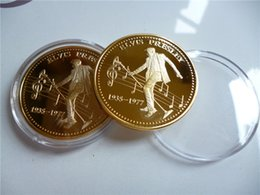 Wholesale Singer Wholesale - 50pcs lot Free shipping Fedex New crafts 2015 US The Elvis and the king of bock Singers souvenir coins metal crafts