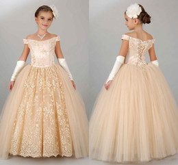 Wholesale Cheap Easter Dresses For Pageants - 2017 New Vintage Flower Girls Dresses For Wedding Off Shoulder Lace Champagne Princess Party Children For Birthday Cheap Girl Pageant Gowns