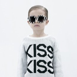 Wholesale Kids Knit Sweaters - INS styles new Girl kids autumn winter long sleeve Kiss letter pure cotton knitted sweater for children fashion elegant Pullover