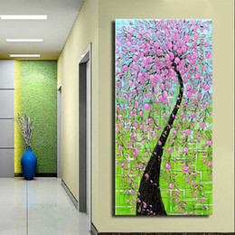 Wholesale Hand Painted Scenery Oil Painting - Thick Textured Modern abstract Hand painted Palette Knife Oil Painting Canvas flower tree Scenery Wall Art Gift ,Home office Decor