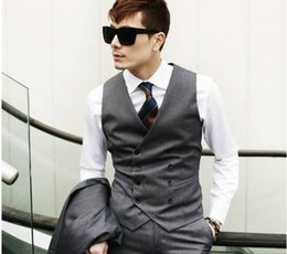 Wholesale Men Satin Waistcoat - Brand New Groom Vests Gray Groomsmens Best Man Vest Custom Made Size and Color Double-Breasted Wedding Prom Dinner Waistcoat K212