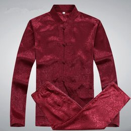 Wholesale Men Red Tang Suit - Wholesale-Men Silk Shirts Pant Suits Printed Plus Size Chinese Men Tang Suit Mandarin Collar Long Sleeve Kung Fu Suit Casual Pant Suit