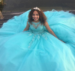 Wholesale saudi sexy girls - 2017 Saudi Africa Quinceanera Dress Princess Puffy Sheer Ball Gown Sweet 16 Ages Long Girls Prom Party Pageant Gown Plus Size Custom Made