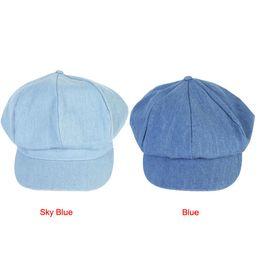 Wholesale Jean Hats Wholesale - Wholesale-Attractive Fashion Women Beret Hat Fan Art Joker Jean Blue Newsboy Pure Color Octagonal Cap May 28