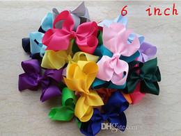 Wholesale Grosgrain Flower Hair Bows - 2015 Hot Sale 6 inch 150pcs lot children girl Grosgrain Ribbon big Bow Hair Clip Pin Flower Baby Girl Headdress Accessories