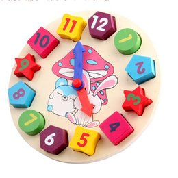 Wholesale Wooden Clock Puzzle - 2015 Bunnies digital stereo Colorful cartoon digital geometry clock wooden toy intellect toy puzzle matching game