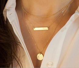 Wholesale Gold Chain Short Choker Necklace - Hot Sale Gold Choker Necklace Disc Pendant Alloy Chain Short Necklace 3 Layer Necklace Retro Jewelry For Women