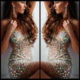 Wholesale Nude Sequin Mini Dress - Sexy Short Bling Prom Dresses Mini Sheer Scoop Neck Nude Tulle Sheath Beaded Crystal 2016 Cocktail Party Dresses For Evening Formal Gowns