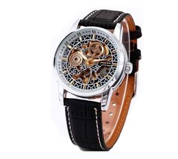 Wholesale Vintage Skeleton Automatic Watch - Drop Shipping The brand Shenhua Vintage Automatic Mechanical Watch Skeleton Men Wrist Watch For Gift Free Ship