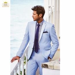 Wholesale Light Silver Grey Suits For Grooms - Wholesale-Grooms Mens Tuxedo Custom Wedding Suits For Men With Pants Light Sky Blue Notch Lapel Two Buttons Jacket + Pants+Tie XL619
