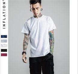 Wholesale Plain Cotton Tees Man - mens clothing summer style streetwear hiphop mens designer clothes M-2XL tee shirts grey Elong extended plain t shirt hight quality free shi