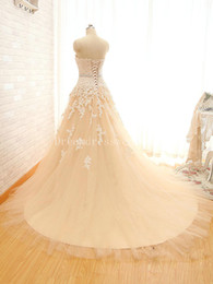 Wholesale Drop Waist Wedding Dress Tulle - Real Picture Wedding Dresses Sweetheart With Appliques And Crystal Beading Waist Lace Up Long Tulle Vestido De Novia