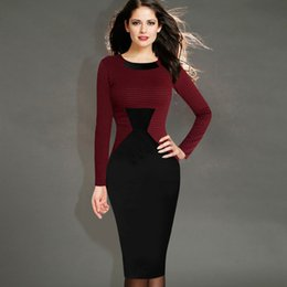 Wholesale Pocket Pencil Skirt - 2017 autumn and winter new European funnel hit color Slim long-sleeved dress Europe station ladies large size pencil skirt