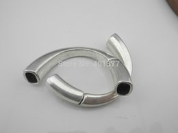Wholesale Silver Findings For Leather Bracelets - Wholesale-Free Shipping 3pcs Antique Silver Magnetic Half Cuff Bracelet Finding for Licorice Leather
