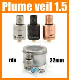 Wholesale Black Plumes - 2015 Plume Veil 1.5 RDA Rebuildable Atomizer Dripping Atomizer Vaporizer Stainless Steel Black red Copper ecig DHL free ATB227
