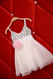 Wholesale Belt Sling - 2016 Summer Girl Dress Lace Flower Belt Sequins Sleeveless Dress Children Princess Sling Dress 2-7T 1550