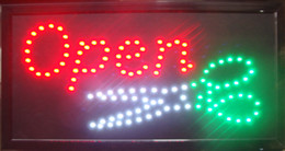 Wholesale Color Led Bright - Led hair cutting shop open signs ultra bright animated 10X19 inch light up electronic led sign display white green color scissors