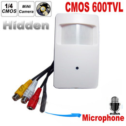Wholesale wired pir - CMOS Color 600TVL CCTV security Camera Motion Detector PIR STYLE Indoor CCTV Mini PIR Style Surveillance Camera microphone